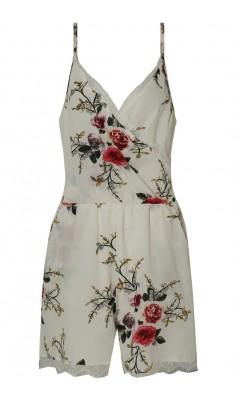 Combishort blanc cache-coeur fleuri avec bretelles