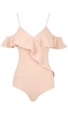 Pink bodysuit V-neck with rustles