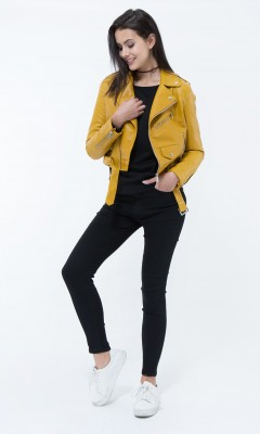 Blouson en simili cuir moutarde