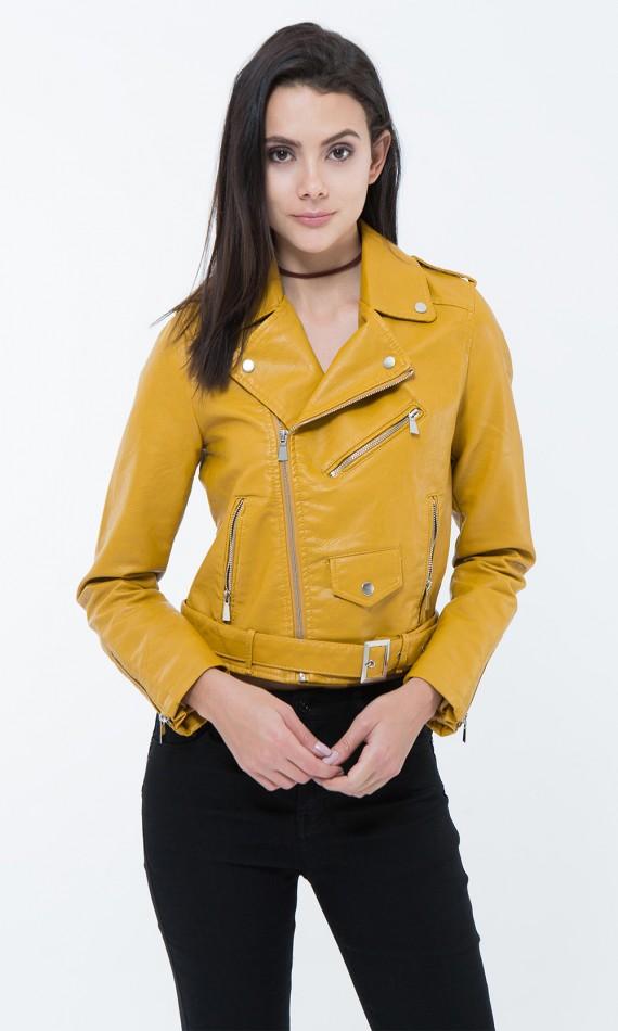 Blouson en simili cuir moutarde, veste jaune