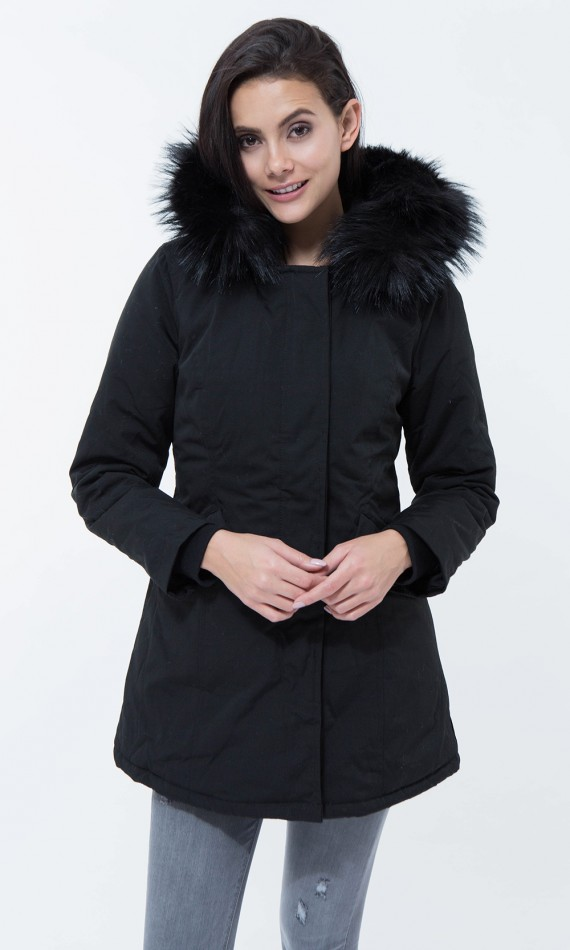 Black parka with hood fake fur