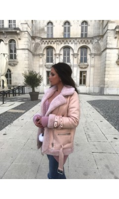 Veste pilote rose en imitation fourrure
