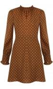 Dress camel polka-dot