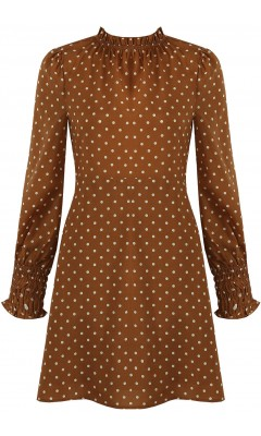 Dress camel polka-dot