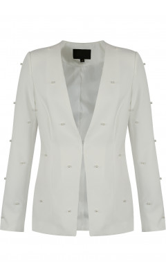 White blazer with pearls