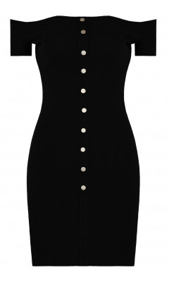 Black skin-tight dress with collar boat and buttons pressure