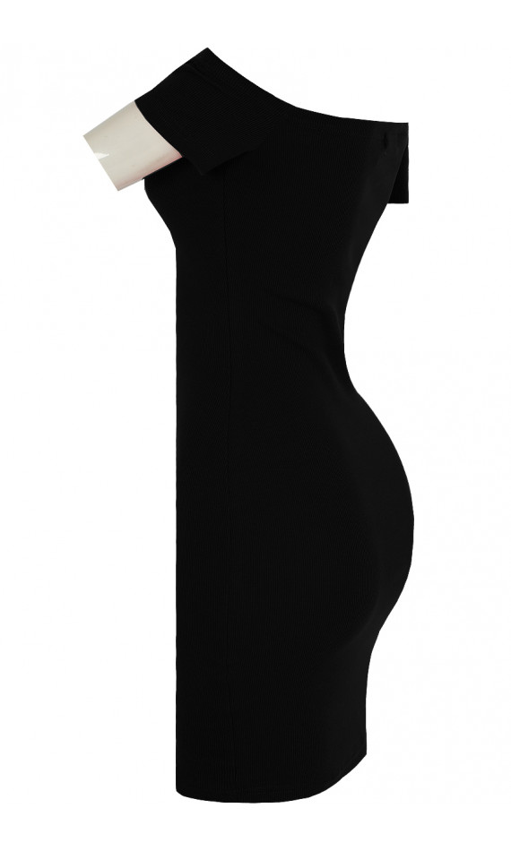 Black skin-tight dress with collar boat