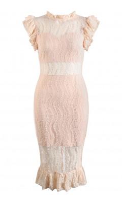Robe mi-longue rose à froufrous