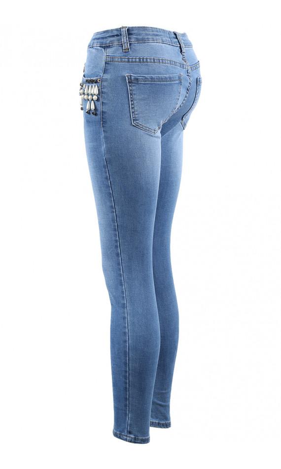 Jean skinny bleu à perles