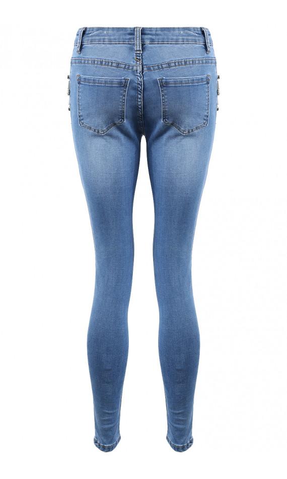 Jeans skinny blue in pearls