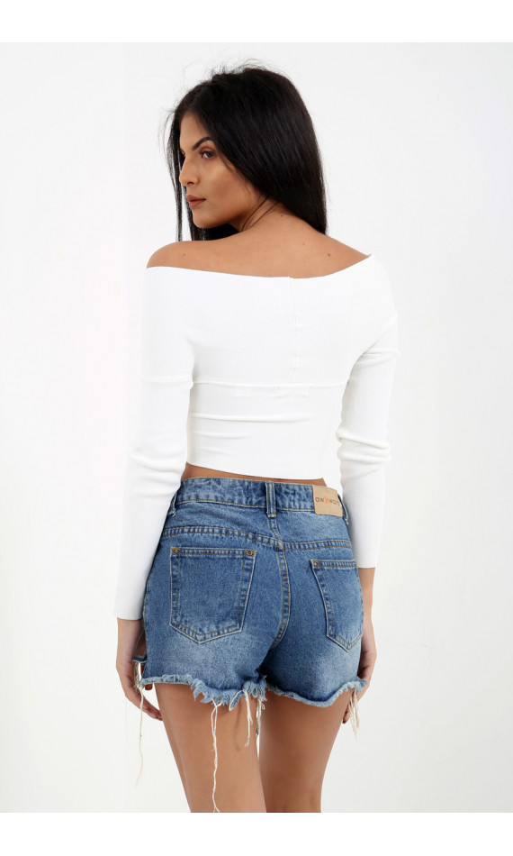 Crop top white effect bandage