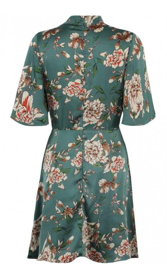 Dress green skater printed decorated with flowers