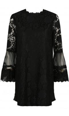 Robe noire en dentelle à fleurs, manches longues et coupe droite