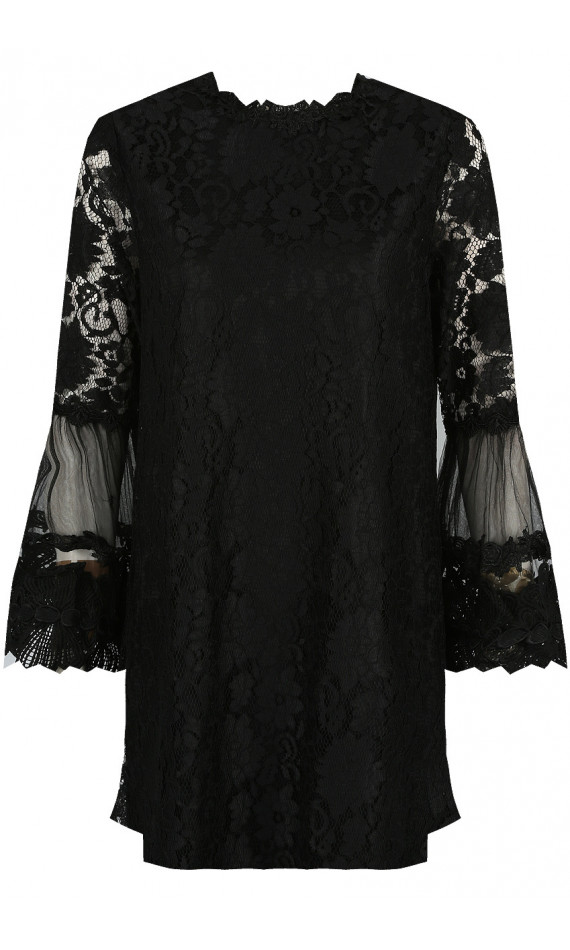 Black straight dress in lace with flowers