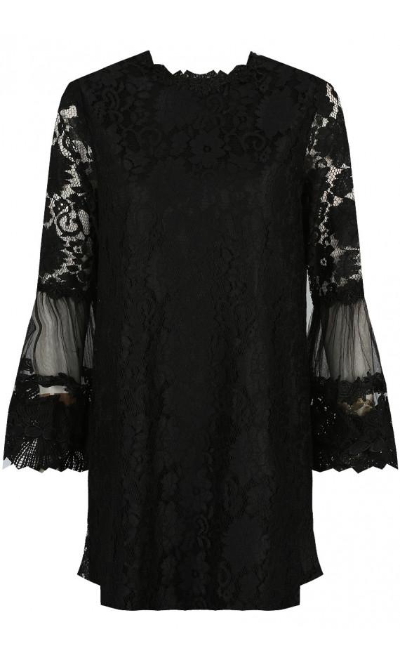 Robe noire en dentelle à fleurs