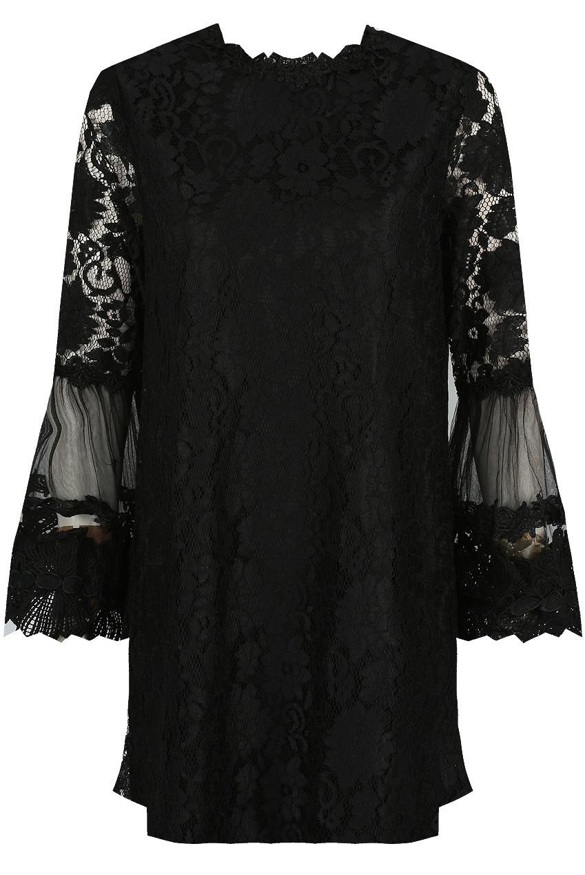 Robe Noire En Dentelle A Fleurs Manches Longues Et Coupe Droite Morango Vetements Pour Femme
