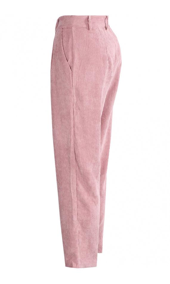 Pantalon droit en velours côtelé rose