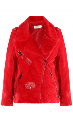 Red jacket fake fur