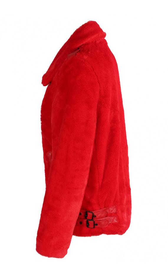 Veste rouge fausse fourrure