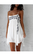 Dress in white muslin with embroidery blue