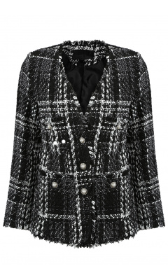 Black and white blazer in squared tweed