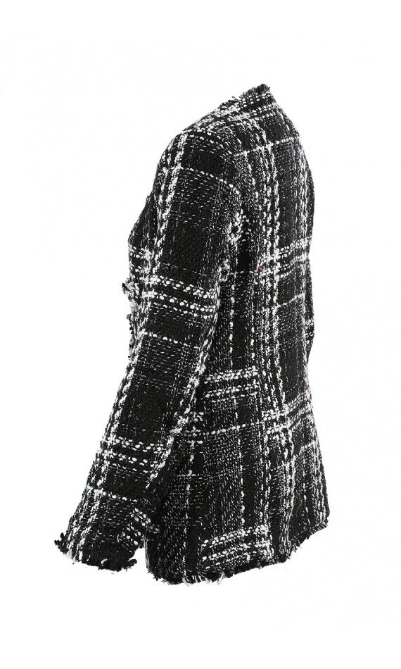 Blazer noir et blanc en tweed à carreaux