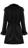 Manteau noir en suédine à fausse fourrure