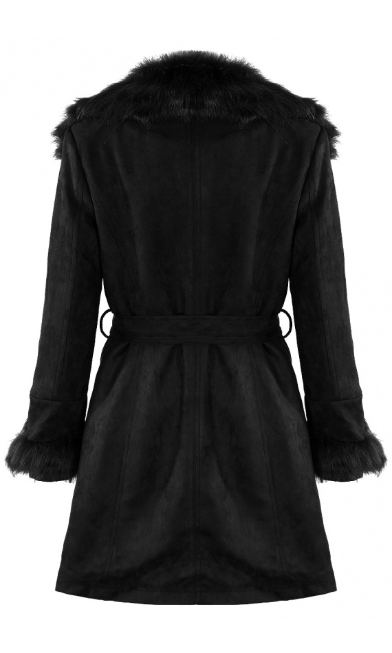 Black coat in imitation suede with fake fur