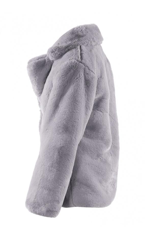 Jacket in grey fake fur