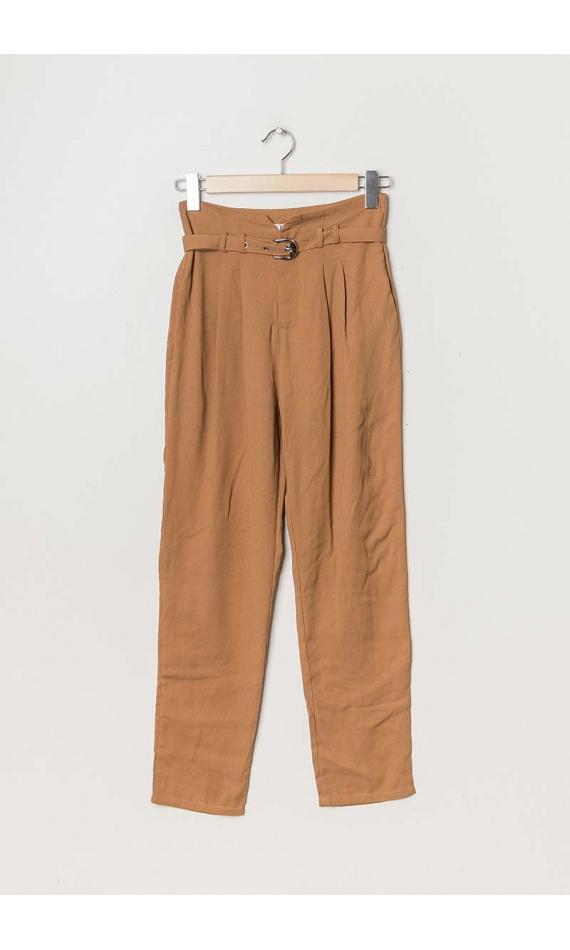 Pantalon cigarette camel à ceinture