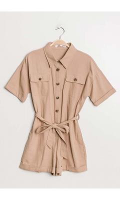 Beige safari combishort with short sleeves