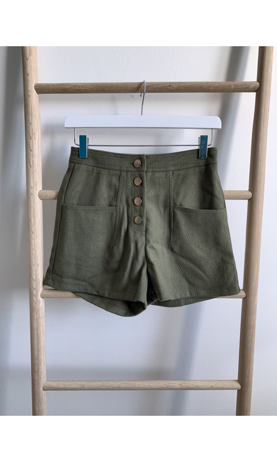 Khaki green shorts with buttons