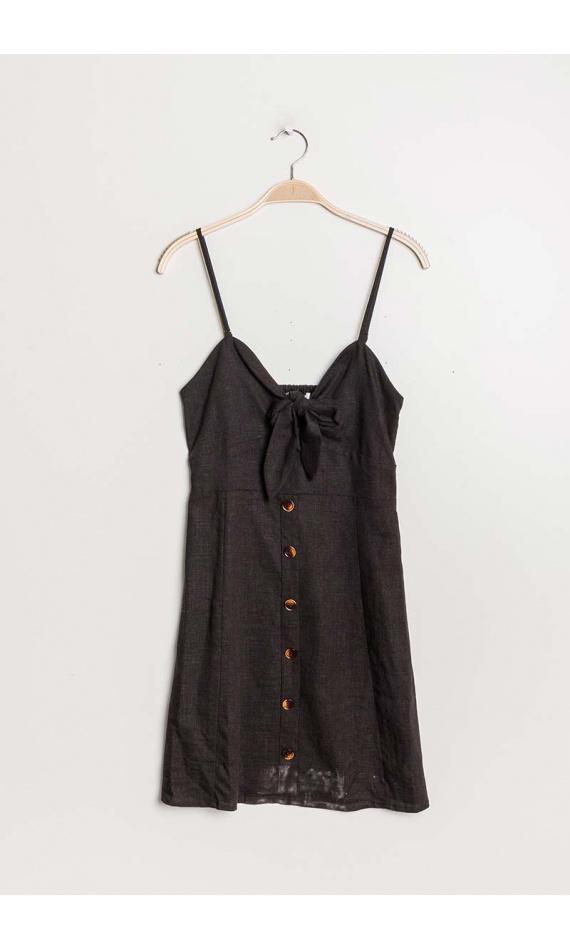 Robe noire boutonnée avec noeud