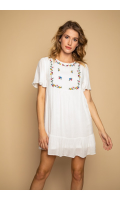 Short white dress with ruffles
