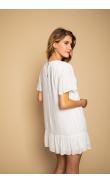 Robe courte blanche à volants