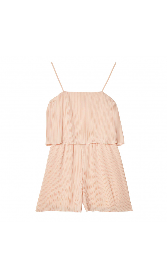Pleated playsuit pink