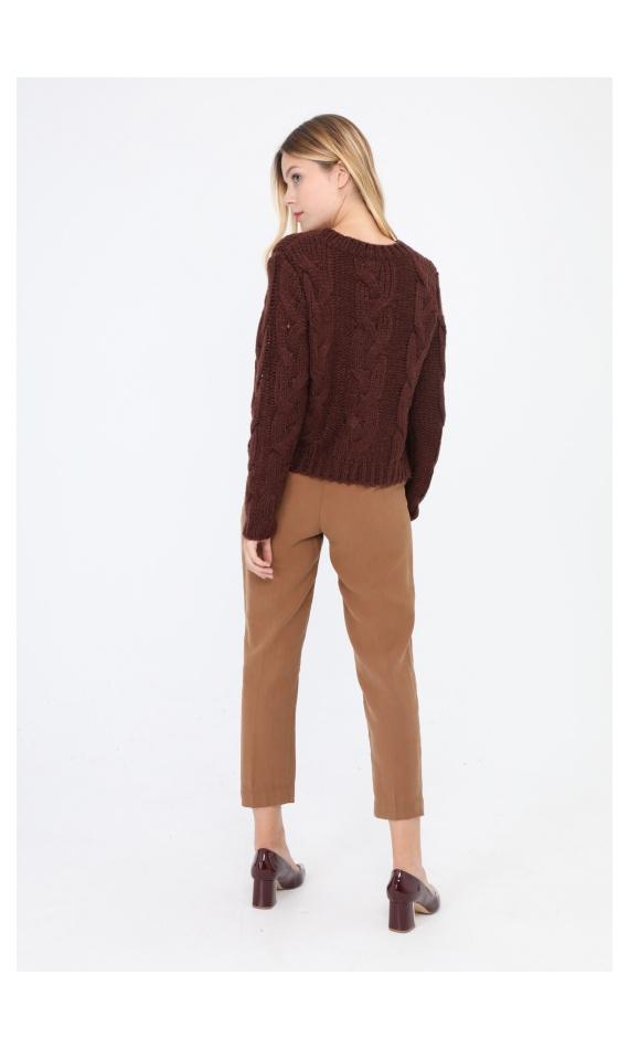 Pull maille torsadée brun