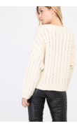 Beige braided knit cardigan