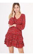 Long-sleeved floral dress with ruffles
