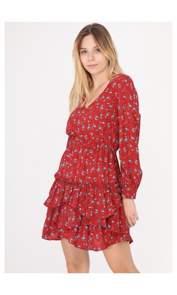 Robe rouge manches longues à fleurs avec volants
