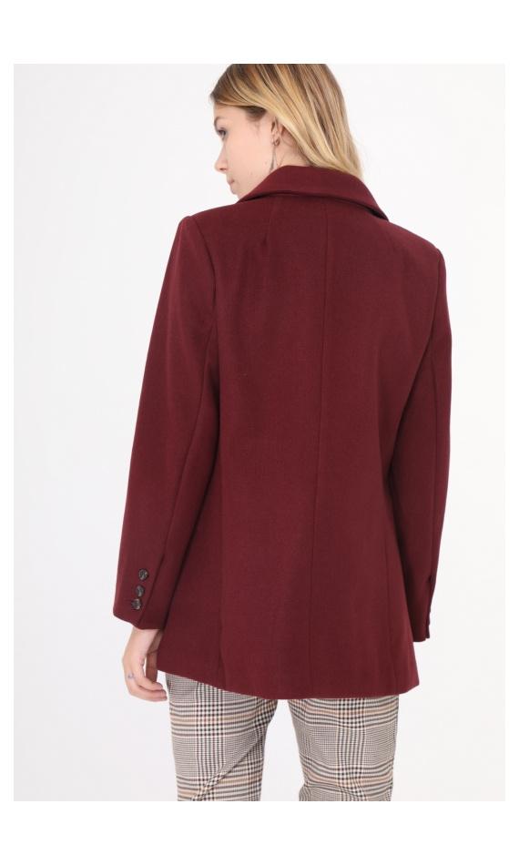 Manteau droit bordeau