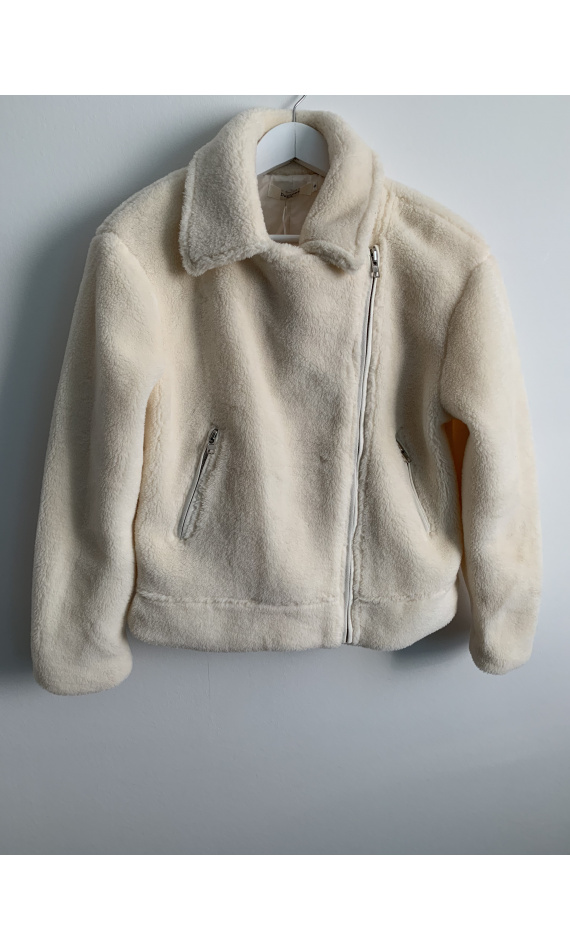 Fur imitation cream jacket
