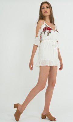 White culotte suit with embroidery