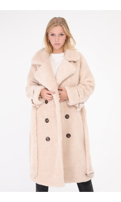 Manteau long en peluche