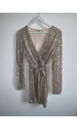 Silver sequined evening dress
