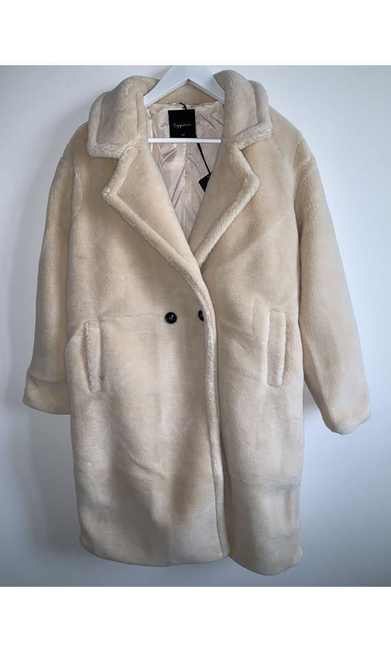 Manteau teddy bear blanc cassé, manteau long fausse fourrure