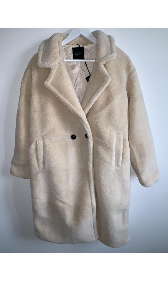 Manteau teddy bear blanc cassé, manteau long fausse fourrure