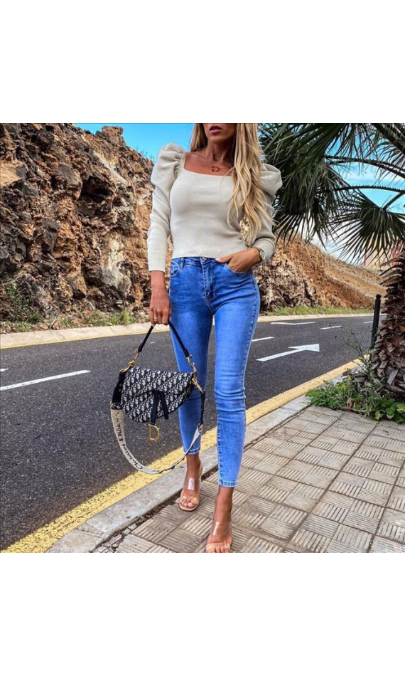 Beige top with puff sleeves