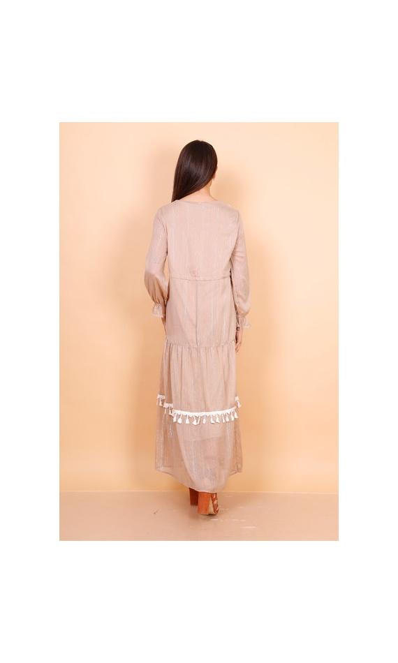 Robe longue beige avec pompons