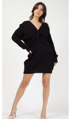 Dress black pullover in stitch with knot